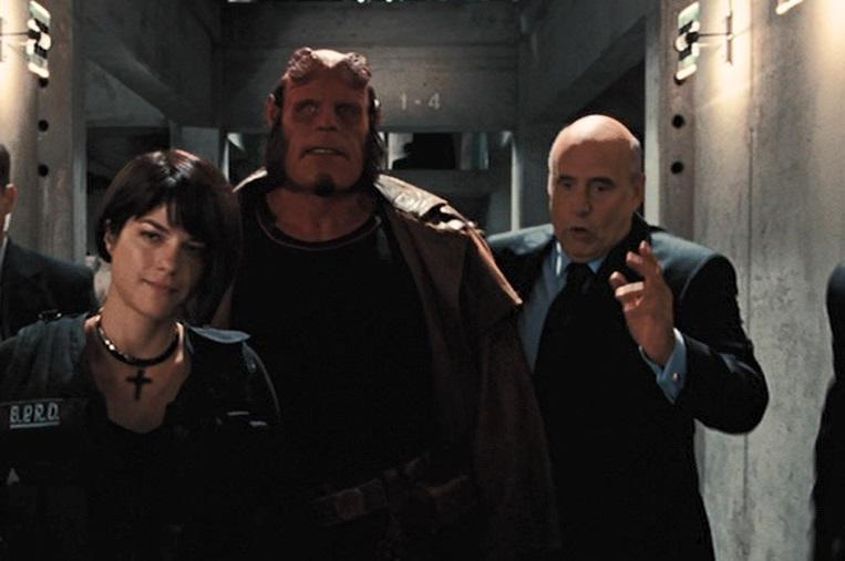 Jeffrey Tambor (right) with Selma Blair and Ron Perlman in 'Hellboy II: The Golden Army' (credit: Universal)