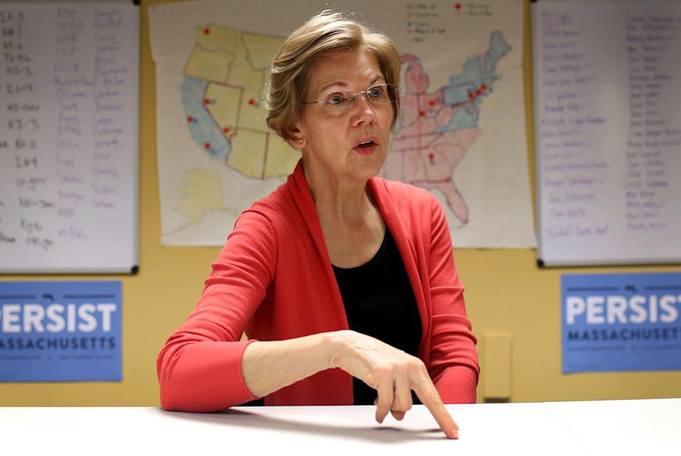 BOSTON, UNITED STATES - OCTOBER 12:  Democratic Senator Elizabeth Warren speaks at her campaign headquarters in Dorchester. (Photo by Hadley Green for The Washington Post via Getty Images)