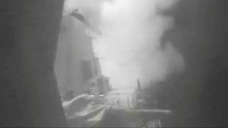 A still image from video released October 13, 2016 shows U.S. military launching cruise missile strikes from U.S. Navy destroyer USS Nitze