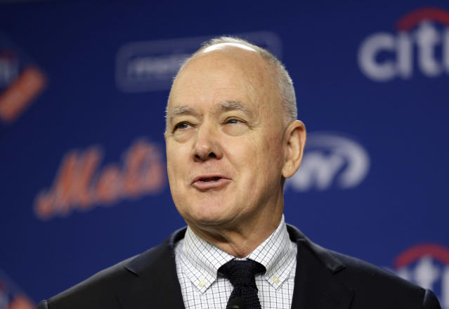 FILE - In this Jan. 17, 2018 file photo, New York Mets' general manager Sandy Alderson speaks at a news conference at Citi Field in New York. Alderson is returning to the Oakland Athletics as a senior adviser to baseball operations after previously working 17 seasons with the club in various capacities. (AP Photo/Seth Wenig, File)