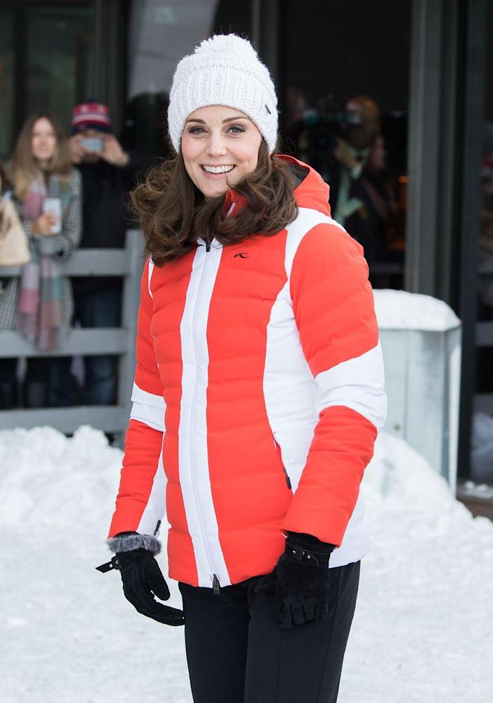 """<p>The Duchess <a href=""""https://www.townandcountrymag.com/leisure/sporting/g31023166/best-royal-family-skiing-photos/"""" rel=""""nofollow noopener"""" target=""""_blank"""" data-ylk=""""slk:hit the slopes"""" class=""""link rapid-noclick-resp"""">hit the slopes </a>in Oslo, Norway, bundling up for an event organized by the Norwegian Ski Federation. </p>"""