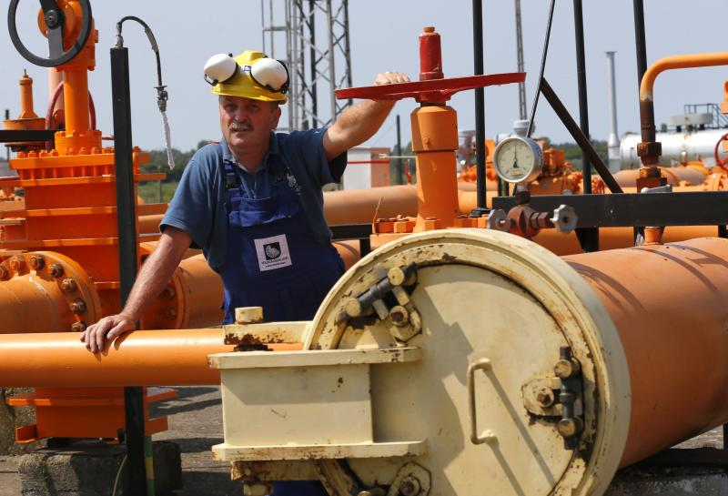 an engineer oversees the gas distribution system of hungarys gas pipeline operator