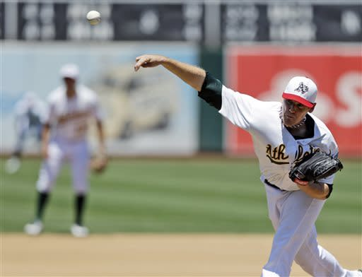 Oakland Athletics starter Dan Straily throws to the Chicago Cubs during the fourth inning of a baseball game Thursday, July 4, 2013, in Oakland, Calif. (AP Photo/Marcio Jose Sanchez)