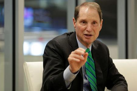 Senator Ron Wyden (D-OR) speaks with Reuters during an interview in Washington
