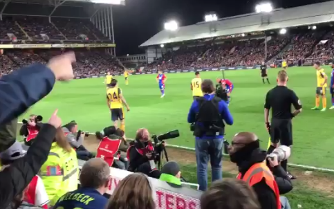 """Arsenal fans turn on their team with chants of """"you're not fit to wear the shirt""""Credit: Twitter"""