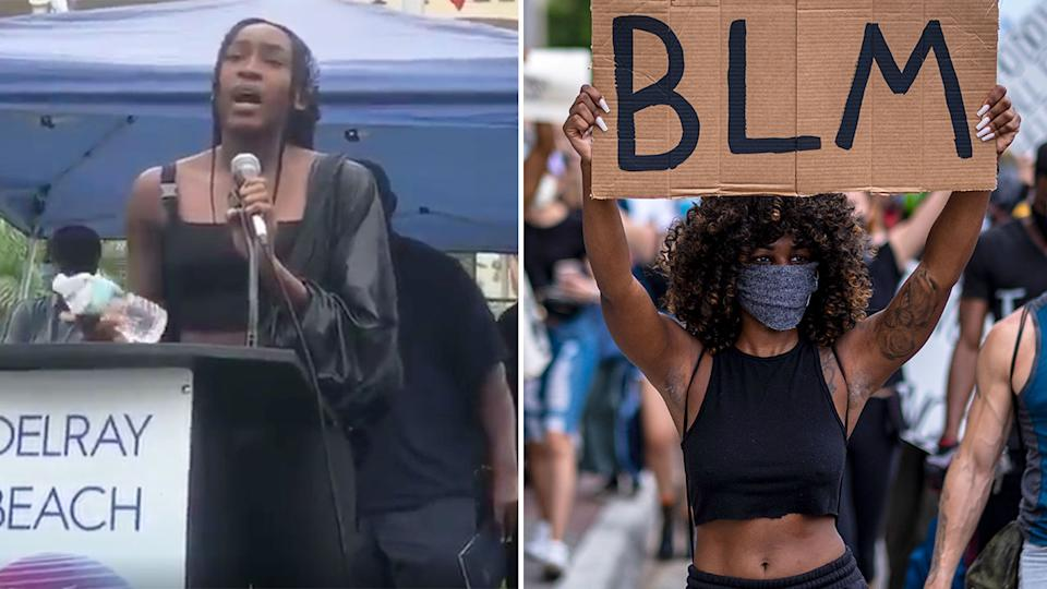 Seen here, Coco Gauff delivered a powerful speech during a George Floyd rally in Florida.