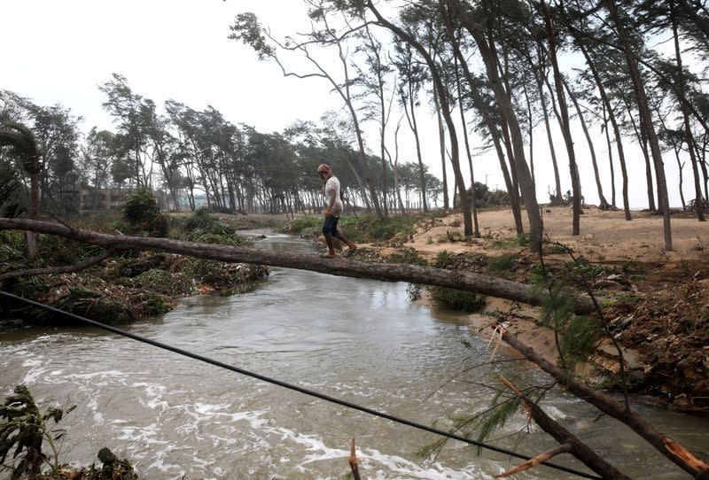 FILE PHOTO: A man crosses a canal on a fallen tree following Cyclone Yaas in Digha