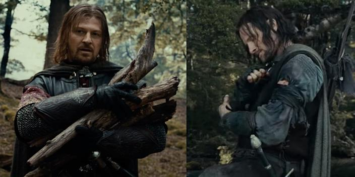 """Boromir shortly before his death, and Aragorn right after. <p class=""""copyright"""">New Line Cinema</p>"""