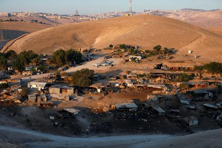 A general view shows the main part of the Palestinian Bedouin encampment of Khan al-Ahmar village that Israel plans to demolish, in the occupied West Bank September 11, 2018. REUTERS/Mohamad Torokman