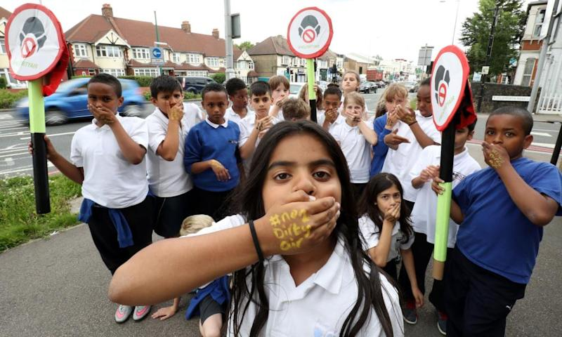 Pupils protesting against dirty air outside Bowes Primary School in Enfield, north London, 5 July 2016