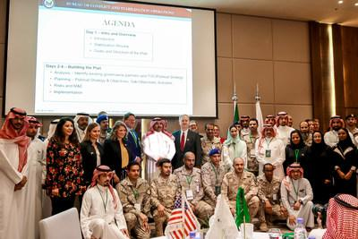 Participants in the 2nd Stabilization Workshop launched by the Saudi Development and Reconstruction Program for Yemen, attended by US Embassy staff, personnel of the Bureau of Conflict and Stabilization of the US Department of State, and Saudi government officials.