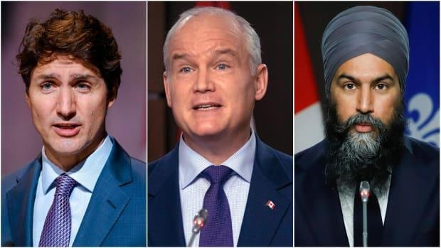 Composite illustration featuring Liberal Leader Justin Trudeau, left, Conservative Party of Canada Leader Erin O'Toole, centre, and NDP Leader Jagmeet Singh.  (Andrej Ivanov/AFP/Getty Images, Adrian Wyld/The Canadian Press, Patrick Doyle/Reuters - image credit)