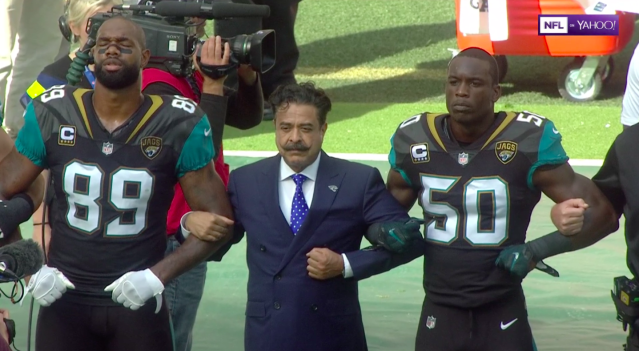 Jaguars owner Shahid Khan locked arms with his players at Wembley Stadium in London on Sunday after President Trump said protesting players should be fired.