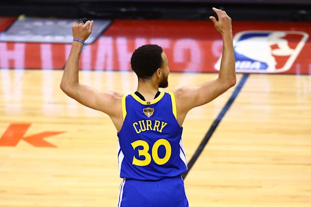 Stephen Curry reacts in the second half during Game Five of the 2019 NBA Finals at Scotiabank Arena. (Getty)