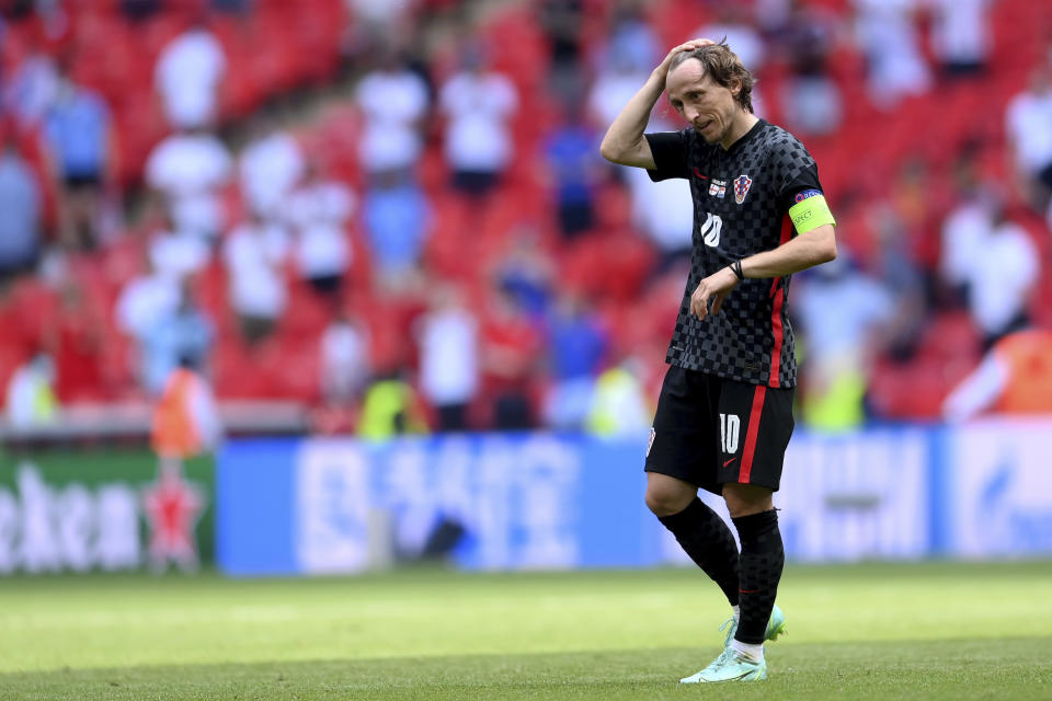 Croatia's Luka Modric reacts during the Euro 2020 soccer championship group D match between England and Croatia, at Wembley stadium, London, Sunday, June 13, 2021. (Laurence Griffiths, Pool via AP)