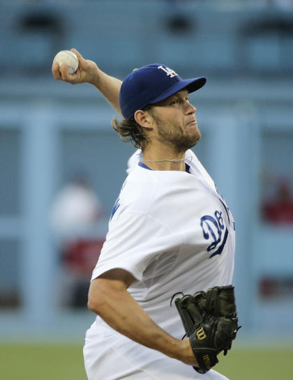 Kershaw gave up three runs and struck out seven against the Angels. (AP)