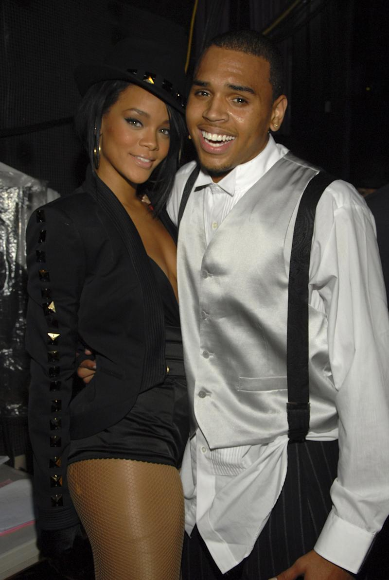 Rihanna began her tumultuous relationship with Chris Brown when she was just 17 years-old, when the two met at the 2005 Vibe Awards. Here, the couple are pictured at the 2007 MTV Video Music Awards.