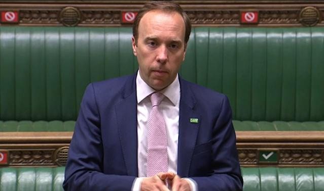 Health secretary Matt Hancock defended the UK over the number of care home deaths in the House of Commons. (Getty)