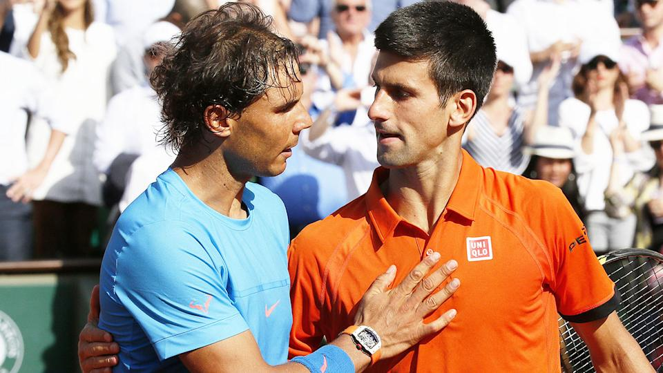 Rafa Nadal (pictured left) hugging and congratulating Novak Djokovic (pictured right) after a match at the French Open.