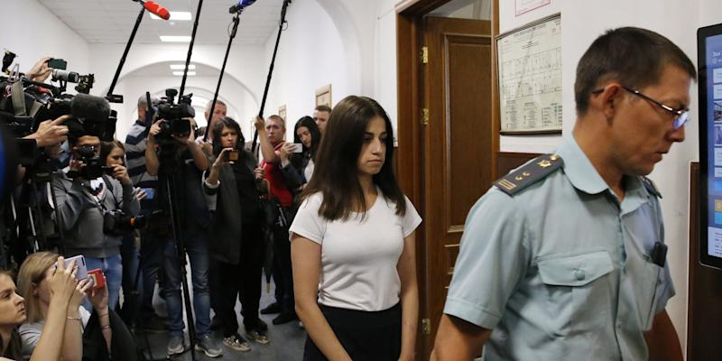 Angelina, one of the three Khachaturyan teen sisters charged with their father's murder, attends a hearing at Moscow's Basmanny District Court, a motion filed to extend their house arrest. Mikhail Khachaturyan, 57, was killed by his three daughters Maria, Angelina and Krestina, 17, 18 and 19 respectively, in their flat on July 27, 2018.