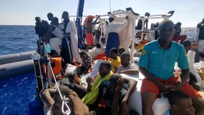 The Louise Michel said it was unable to travel safely because it had taken so many migrants on board