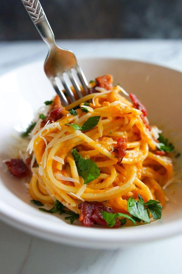 """<p>This isn't your typical carbonara, but that doesn't mean it isn't delicious! This fall-inspired pasta uses a can of pumpkin puree (but butternut squash would work well, too) and crispy bacon for the ultimate comfort meal. </p><p><strong><a href=""""https://www.thepioneerwoman.com/food-cooking/recipes/a100306/pumpkin-bacon-carbonara/"""" rel=""""nofollow noopener"""" target=""""_blank"""" data-ylk=""""slk:Get the recipe."""" class=""""link rapid-noclick-resp"""">Get the recipe. </a></strong> </p>"""