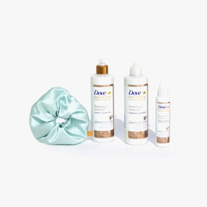 """$35, DOVE. <a href=""""https://brothervellies.com/products/dove-hair-therapy-breakage-remedy-silk-scrunchie"""" rel=""""nofollow noopener"""" target=""""_blank"""" data-ylk=""""slk:Get it now!"""" class=""""link rapid-noclick-resp"""">Get it now!</a>"""