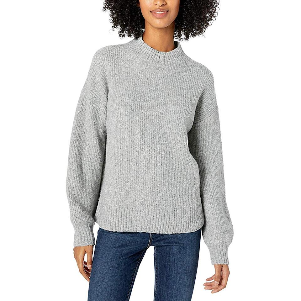 """<p>When I don't feel like putting together a cute outfit, I can throw on this roomy sweater with just about anything—jeans, skirts, and even leggings—and instantly look polished. </p> <p><strong>To buy:</strong> $30–$40; <a href=""""https://www.amazon.com/dp/B07PHW1VZQ/ref=as_li_ss_tl?th=1&linkCode=ll1&tag=rslifecozywinterfindsjmattern0120-20&linkId=79a4acc6245b57eb1e3da7b205c1da39&language=en_US"""">amazon.com</a>.</p>"""