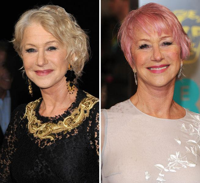 Helen Mirren Pink Hair BAFTA Awards 2013