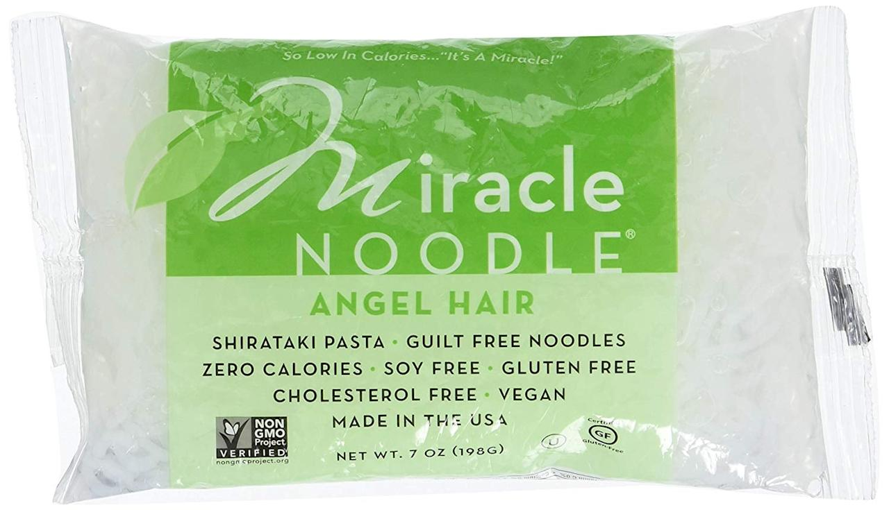 """<p>Start your low-carb diet off on the right foot with <a href=""""https://www.popsugar.com/buy/Miracle%20Noodle%20Angel%20Hair%20Pasta-429141?p_name=Miracle%20Noodle%20Angel%20Hair%20Pasta&retailer=amazon.com&pid=429141&price=7&evar1=fit%3Auk&evar9=46442261&evar98=https%3A%2F%2Fwww.popsugar.com%2Ffitness%2Fphoto-gallery%2F46442261%2Fimage%2F46442358%2FMiracle-Noodle-Angel-Hair-Pasta&list1=shopping%2Camazon%2Cpasta%2Chealthy%20living&prop13=api&pdata=1"""" rel=""""nofollow"""" data-shoppable-link=""""1"""" target=""""_blank"""" class=""""ga-track"""" data-ga-category=""""Related"""" data-ga-label=""""https://www.amazon.com/Miracle-Noodle-Pasta-Angel-Ounce/dp/B005CD3BD8/ref=sr_1_11?javascript:void(null);keywords=miracle+noodle&amp;qid=1553720983&amp;s=grocery&amp;sr=1-11"""" data-ga-action=""""In-Line Links"""">Miracle Noodle Angel Hair Pasta</a> ($7). It has zero calories, zero net carbs, and is gluten-free and vegan.</p>"""