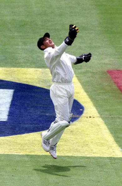 22 Feb 2002:  Mark Boucher of South Africa celebrates catching Ricky Ponting of Australia during the first day of the first test between South Africa and Australia, played at The Wanderers, Johannesburg.  DIGITAL IMAGE Touchline Photo images are available to clients in the UK, USA and Austrlia only. Mandatory Credit: Touchline Photo/Getty Images