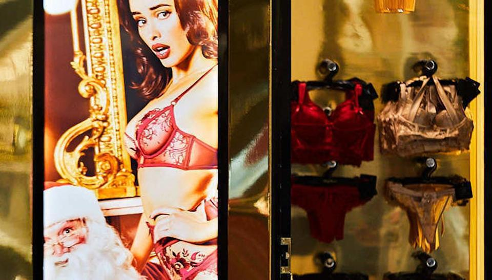 """An online campaign is pushing to stop underwear retailer Honey Birdette from displaying """"porn-style advertising"""" in its shop fronts. Source: Change.org"""
