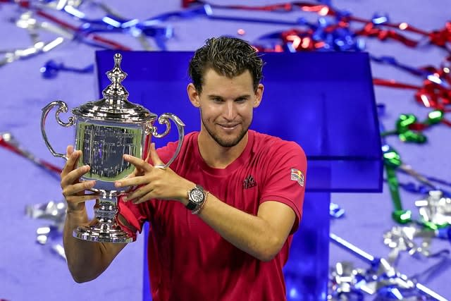Dominic Thiem holds the US Open trophy