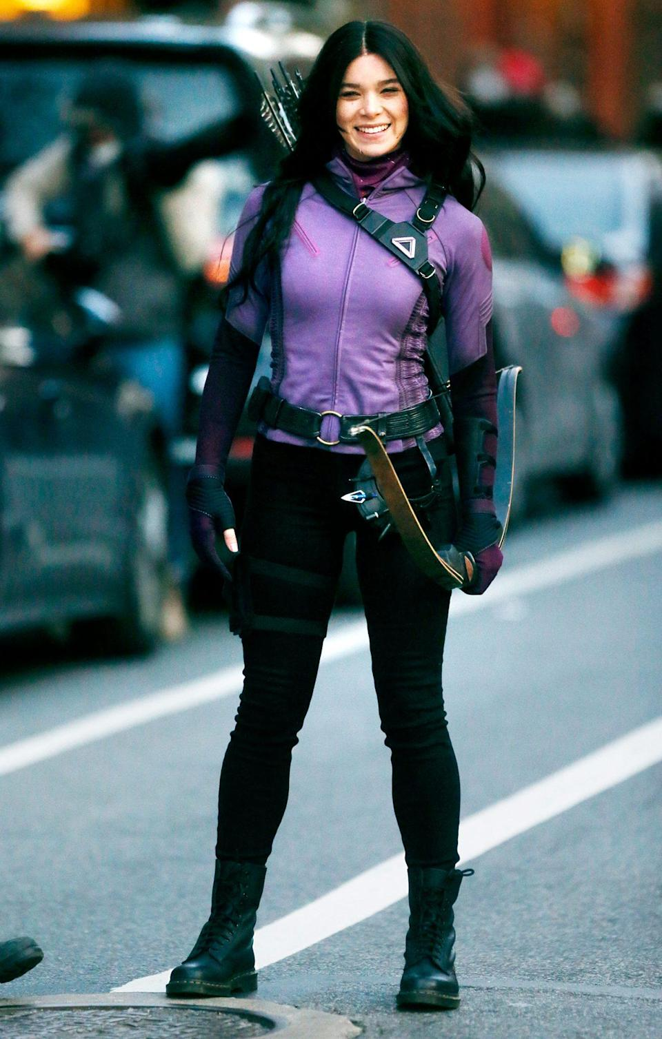 <p>Hailee Steinfeld is all smiles while filming a scene for Marvel's <i>Hawkeye</i> in N.Y.C. on Tuesday. </p>