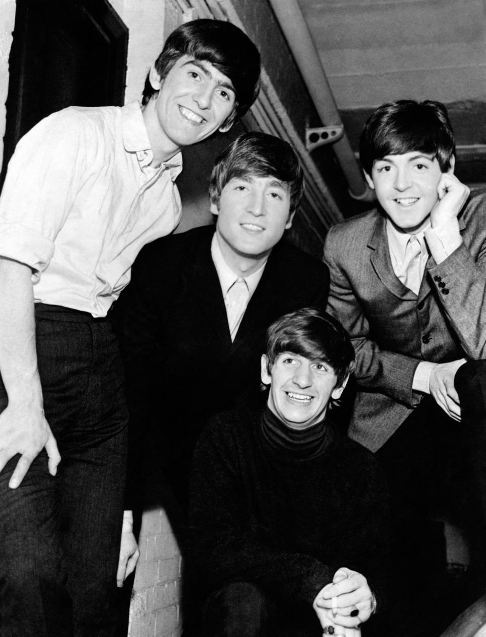 Portrait of English band The Beatles, the singers and musicians John Lennon, Paul McCartney, George Harrison and Ringo Starr (Richard Parkin Starkey). 1960s. (Photo by Mondadori via Getty Images)