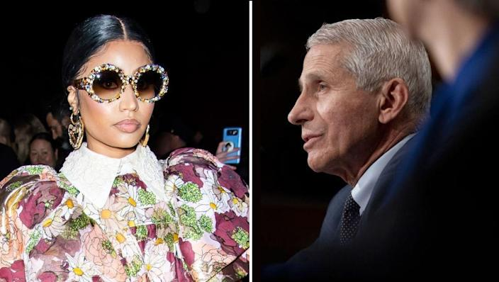 Nicki Minaj and Dr. Anthony Fauci seen in this combination photo. / Credit: Getty Images