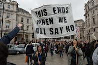 Demonstrators gather in Trafalgar Square during Unite for Freedom march through central London to protest against the restrictions and legislations imposed by the Government to control the spread of coronavirus, lockdowns, mandatory face masks and vaccines, on 24 October, 2020 in London, England. (Photo by WIktor Szymanowicz/NurPhoto via Getty Images)