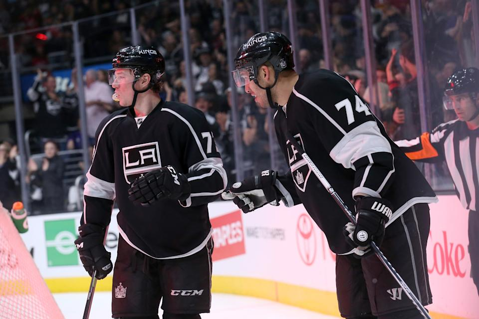 LOS ANGELES, CA - FEBRUARY 14:  Dwight King #74 and Tyler Toffoli #73 of the Los Angeles Kings celebrate after Toffoli assisted on King's second period goal against the Washington Capitals at Staples Center on February 14, 2015 in Los Angeles, California.  (Photo by Stephen Dunn/Getty Images)