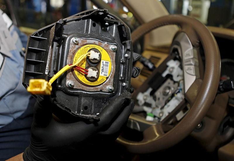 FILE PHOTO - A recalled Takata airbag inflator in Miami