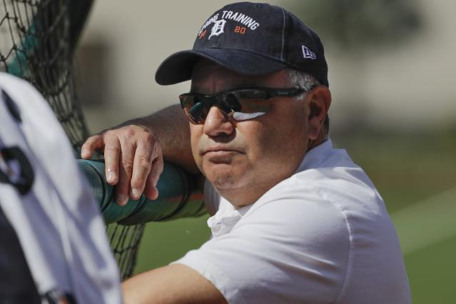 Detroit Tigers general manager Al Avila watches batting practice during a spring training baseball workout Saturday, Feb. 15, 2020, in Lakeland, Fla. (AP Photo/Frank Franklin II)