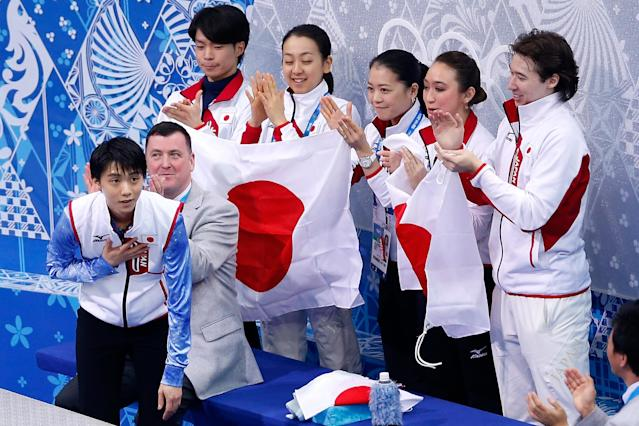 SOCHI, RUSSIA - FEBRUARY 06: Yuzuru Hanyu of Japan reacts after competing in the Figure Skating Men's Short Program during the Sochi 2014 Winter Olympics at Iceberg Skating Palace on February 6, 2014 in Sochi, Russia. (Photo by Matthew Stockman/Getty Images)