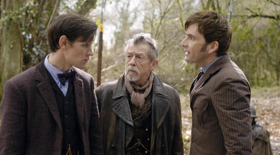 Matt Smith, John Hurt, and David Tennant in 2013's Day of the Doctor. (BBC)