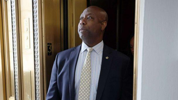 PHOTO: Sen. Tim Scott speaks to reporters as he leaves the weekly Republican policy luncheons on Capitol Hill on May 25, 2021. (Kevin Dietsch/Getty Images, FILE)