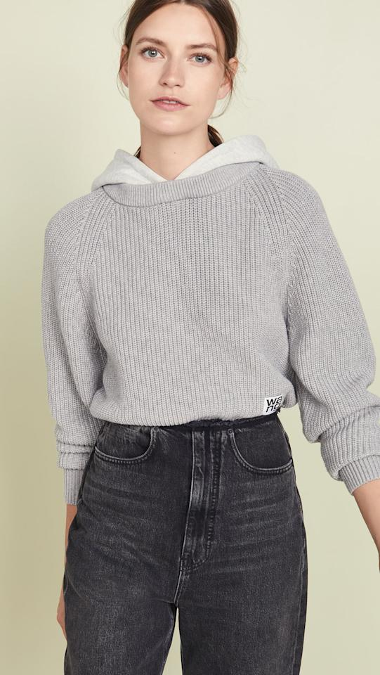 "<p>Take on the sporty look in this <a href=""https://www.popsugar.com/buy/Alexanderwangt-Utility-Hoodie-Sweater-493896?p_name=Alexanderwang.t%20Utility%20Hoodie%20Sweater&retailer=shopbop.com&pid=493896&price=425&evar1=fab%3Aus&evar9=45816436&evar98=https%3A%2F%2Fwww.popsugar.com%2Ffashion%2Fphoto-gallery%2F45816436%2Fimage%2F46673263%2FAlexanderwangt-Utility-Hoodie-Sweater&list1=shopping%2Csweaters%2Cspring%2Ccrop%20tops%2Cspring%20fashion&prop13=mobile&pdata=1"" rel=""nofollow"" data-shoppable-link=""1"" target=""_blank"" class=""ga-track"" data-ga-category=""Related"" data-ga-label=""https://www.shopbop.com/utility-hoodie-sweater-alexanderwangt/vp/v=1/1579308529.htm?fm=search-viewall-shopbysize&amp;os=false"" data-ga-action=""In-Line Links"">Alexanderwang.t Utility Hoodie Sweater </a> ($425).</p>"