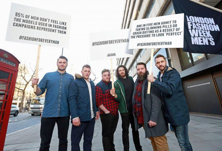 The campaigners were calling for greater representation in the male fashion industry [Photo: Jacamo]