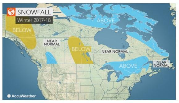 The coast-to-coast predicted snowfall trends across Canada in winter 2017.