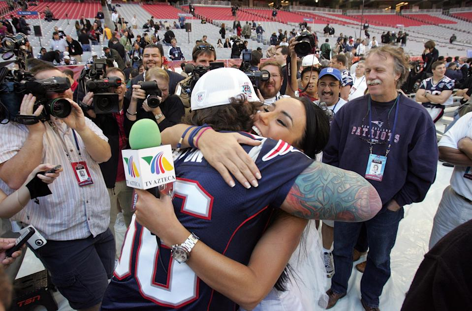 (012907 Glendale, AZ)  Ines Gomes Mont, of TV Azteca, came dressed as a bride for Tom Brady during Media Day at the University of Pheonix Stadium.  However, although she was turned down by both Brady and Manning, Lonie Paxton tracked her down and said he would be honored to have her as a bride, in jest of course.  Saved in wednesday,  January 29, 2008.  Staff photo by Lisa Hornak. (Photo by Lisa Hornak/MediaNews Group/Boston Herald via Getty Images)