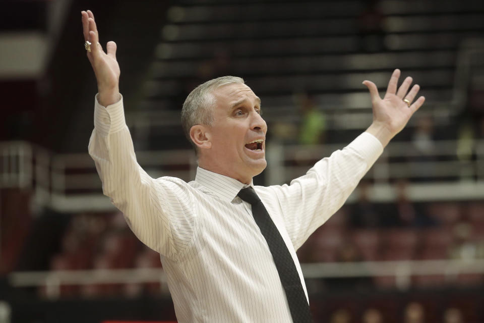 Arizona State coach Bobby Hurley reacts during the first half of the team's NCAA college basketball game against Stanford in Stanford, Calif., Thursday, Feb. 13, 2020. (AP Photo/Jeff Chiu)