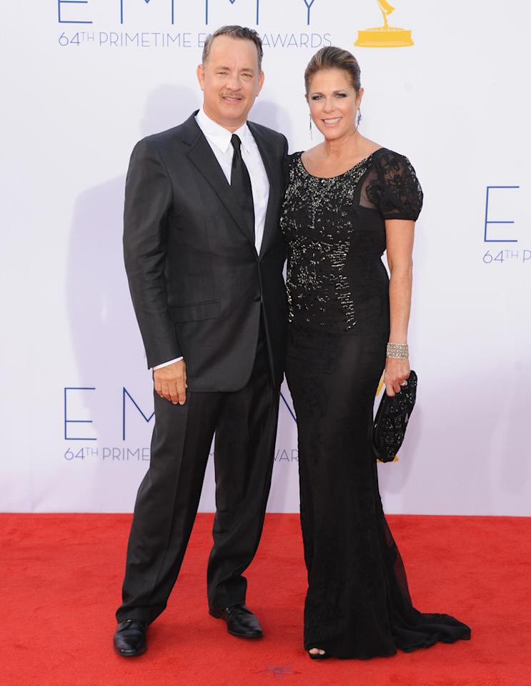 Tom Hanks and wife Rita Wilson at the 64th Primetime Emmy Awards at the Nokia Theatre in Los Angeles on September 23, 2012.