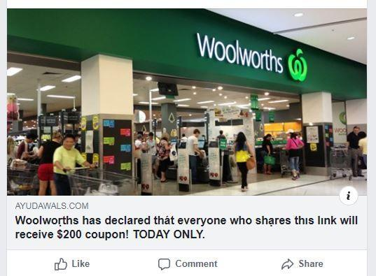 A deceptive Facebook post showing a scam using the Woolworths brand to entice victims to engage.